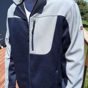 Swiss Tech Jacket Gray & Blue Full ZIP Men's Large